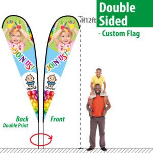 Custom Double Sided Feather Flag - H12ft